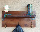 Rustic Handmade Coat Rack with a Floating Shelf Made of solid wood with coat hooks