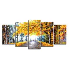 Amazon.com: Wieco Art - Autumn Love Modern Framed Giclee Canvas Prints 5 Panels Abstract Landscape Forest Oil Paintings Reproduction Pictures Photo Printed on Canvas Wall Art work for Bedroom Home Decorations: Posters & Prints