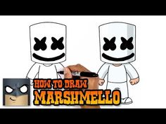how to draw marshmello art tutorial Easy Cartoon Drawings, Disney Drawings, Easy Drawings, Pencil Drawings, Shopkins Drawings, Cartooning 4 Kids, Goku Drawing, Drawing Lessons For Kids, Drawing Ideas