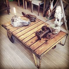 Industrial trolley coffee table just arrived.  #vintage #rustic #industrial #trolley #coffee #table #furniture #timber #metal #newarrival #unique #home #decor #interior #decorating #interiordesign #styling #patina #ontrend #instore #whatremains #594kingstreet #newtown #sydney #shoplocal by what.remains