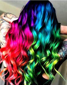 Cute Hair Colors, Pretty Hair Color, Beautiful Hair Color, Hair Dye Colors, Blonde Hair With Color, Unique Hair Color, Hair Colour, Creative Hair Color, Natural Hair Styles