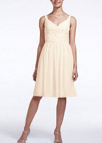 For Danielle: it comes in a marine or mint color, which I think would look good on her. Short, airy and chic. Ultra-feminine v-neckline and sleeveless ruched bodice is figure flattering. Flowy comfortable chiffon hits right above the knee. Fully lined. Back zip. Imported polyester. Dry clean.