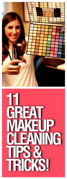 Makeup clean-up tips and tricks from a makeup artist!   How to clean brushes (baby shampoo, or anti-bacterial hand soap), how to dry brushes on a towel bar, how to remove makeup stains, how to clean your eyelash curler...and so many more!  Amazing post, must pin!