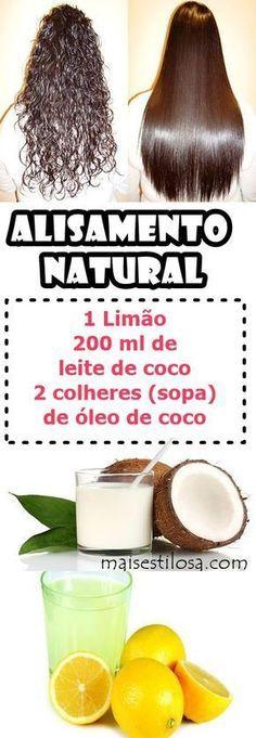 Alisamento Natural com Leite de Coco e Limão: Alisa o cablo gradativamente, aprenda como fazer. #alisamentonatural