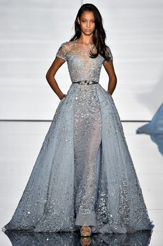 A model walks the runway during the Zuhair Murad show as part of Paris Fashion Week Haute Couture Spring/Summer 2015 at Palais de Tokyo on January 2015 in Paris, France. Evening Dresses, Prom Dresses, Formal Dresses, Wedding Dresses, Bridesmaid Dress, Short Dresses, Fashion Vestidos, Fashion Dresses, Zuhair Murad