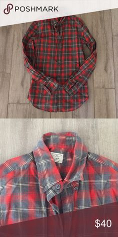 SALE 🎉Red plaid shirt This shirt is a 2 ply 100% cotton button up from the men's dept J. Crew Shirts Casual Button Down Shirts