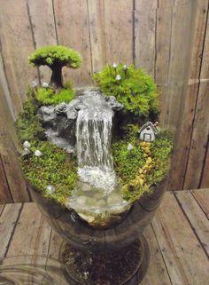Amazing Huge Waterfall Terrarium with Raku Fired Miniature House, Tree, and glow in the dark Mushrooms - OOAK Handmade by Gypsy Raku by GypsyRaku on Etsy