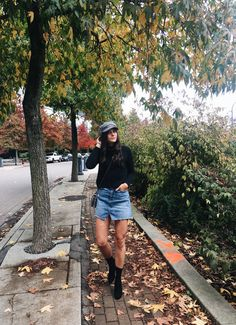 Fall outfit bliss.  Hat by Peter Grimm, turtleneck from Wilfred, denim skirt by GRLFRND Denim from Revolve, bag by Rebecca Minkoff from Revolve, and boots from Public Desire.  Check out more of this look on my blog: https://lifeoftita.com/2017/10/27/newsboy-chic/