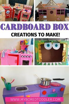 cardboard box creations to make at home - make a pretend play box kitchen, cardboard box laundry, cardboard train and toy garage - so many fun box ideas to make a home. Cardboard Train, Cardboard Box Crafts, Cardboard Crafts, Cardboard Playhouse, Cardboard Furniture, Easy Toddler Crafts, Toddler Fun, Fun Crafts For Kids, Toddler Preschool