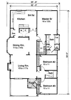 First Floor Plan of Bungalow   House Plan 72759.. Make dining room/ living room and kitchen a great room