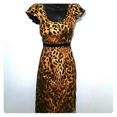 """Animal print dress Gorgeous wiggle dress with liner Excellent condition, worn once!  18"""" bust laid flat 14"""" waist measured flat 19"""" hips There isn't much stretch to this dress!! Rampage Dresses"""