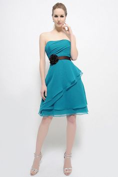 Blue and Brown Short Bridesmaid Dress. Love