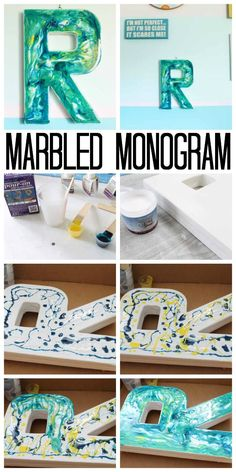 Learn how to make a marbled monogram with resin.  This is an easy way to add marbling to any surface!  Grab your supplies and make your own home decor today! via @resincraftsblog