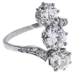 Antique Platinum Diamond Trilogy Ring