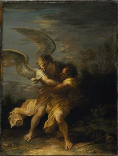 Salvator Rosa (1615-1673), Jacob Wrestling with the Angel, oil on canvas
