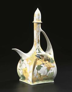 "Rozenburg, Den Haag, ""Eggshell"" Porcelain tea pot, painted by Samuel Schellink."