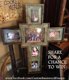 I love this frame!   8x10 in the middle and then (4) 4x6.  Check them out on facebook:  CustomBarnwoodFrames