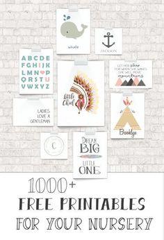 1000 free nursery art printables!!!!! All in one place :) #printables #baby #nursery