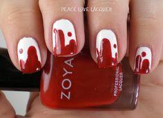 Bloody Halloween Nails using OPI Alpine Snow and Zoya Rehka