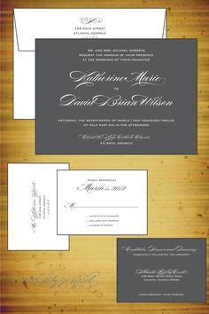 Classic Burgues Wedding Invitation