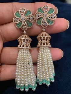 Tassel earrings in diamonds emeralds and pearls . For full product details pls whats app at 20 September 2019 Tassel earrings in diamonds emeralds and pearls . For full product details pls whats app at 20 September 2019 Tassel Jewelry, Tassel Earrings, Beaded Jewelry, Drop Earrings, Gold Jewelry, Jewlery, Keep Jewelry, Jewelry Making Beads, Jewelry Gifts