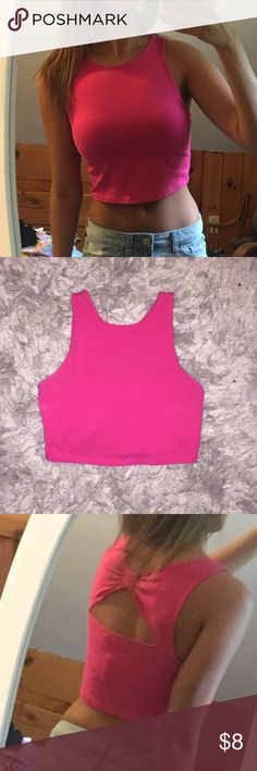 Cropped tank w/ back detail Pink cropped tank with bow back detail. From the Bethany Mota for Aeropostale collaboration. Never worn Bethany Mota Tops Tank Tops