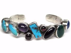 Vintage Navajo Sterling Multi Stone Cuff Bracelet Grace Gilo Nakai