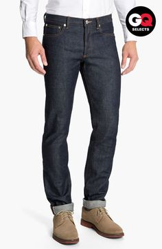A.P.C. 'New Standard' Selvedge Slim Straight Leg Jeans (Indigo) available at #Nordstrom