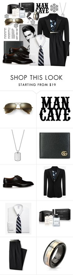 """""""New Year's man cave"""" by carleen1978 ❤ liked on Polyvore featuring Ray-Ban, Emporio Armani, Gucci, Givenchy, Alexander McQueen, Brooks Brothers, Bulgari, Lands' End, West Coast Jewelry and Mercedes-Benz"""
