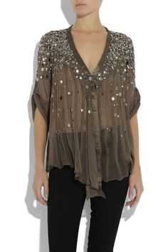 Sheer olive silk-chiffon top with sequin embellishment. Elizabeth and James top has sequins clustered at the shoulders and scattered through the front, a V-neck, one button to fasten at the front and three-quarter length sleeves with a button and tab to fasten. 100% silk. Hand wash.