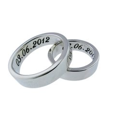 His & Hers Matching Wedding Bands  Personalized by MetalPressions, $180.00 (perfect for when going on vacations and don't want to wear the actual wedding ring)