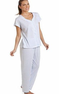 Camille Womens Ladies Blue Stripe Short Sleeve Pyjama Set 18/20 Blue stripe pyjama set in a lightweight and breathable material. The v neck short sleeve top features a pretty embroidered flower design around the neckline. The bottoms (Barcode EAN = 5050535415225) http://www.comparestoreprices.co.uk/ladies-pyjamas/camille-womens-ladies-blue-stripe-short-sleeve-pyjama-set-18-20.asp