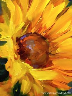 painting Inspiration Deep - In the Heart of Deep Blue Sunnies by artist Nancy Medina, on DailyPainters com. Sunflower Art, Arte Floral, Fine Art, Learn To Paint, Watercolor Paintings, Deep Paintings, Paintings Of Flowers, Painting Trees, Heart Painting