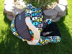 Groovy Guitar Lagoon with BLACK Car Seat Cover by sewcuteinaz, $65.00