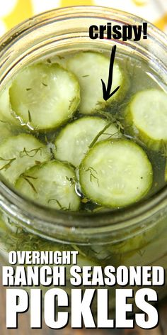 OVERNIGHT RANCH SEASONED PICKLES, easy homemade refrigerator pickles that are crispy! Ready the next day this quick small batch pickle recipe has dill, ranch seasoning, and a few other simple ingredients. Homemade Refrigerator Pickles, Refrigerator Pickle Recipes, Homemade Pickles, Homemade Ranch, Small Batch Pickle Recipe, Crispy Dill Pickle Recipe, Dill Pickle Recipes, Sauces, Gourmet