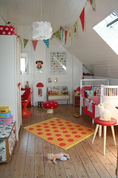 Bright fun girl's room.  I love the toadstool mushroom elements and the polka dot rug.  Pennant banners are popping up everywhere in kid's rooms.