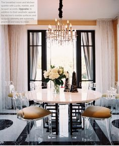 lucite, marble and black lacquer - glamorous dining room
