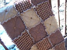 Homespun Red Country Primitive Rag Quilt by KristinsCountryHome, $36.95