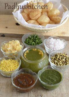Pani Puri Recipe-How to make Pani Poori-Golgappas-Chaat Recipes - Padhuskitchen Indian Snacks, Indian Food Recipes, Asian Recipes, Vegetarian Recipes, Snack Recipes, Cooking Recipes, Pani Puri Recipe, Chaat Recipe, Comida India