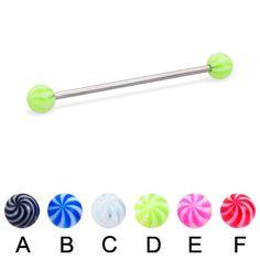 Tornado ball long barbell (industrial barbell), 14 ga.  #industrial #barbell #piercing #piercingjewelry #jewelry #bodypiercing #bodyjewelry ♥ $10.99 via OnlinePiercingShop.com