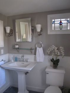 Search for the name of a paint color on this blog and it will show you what it looks like in a room. Also has exterior colors!! - This is my master bathroom. The gray color is Martha Stewart Bedford Gray, the white wainscotting is Martha Stewart Cotton Balls