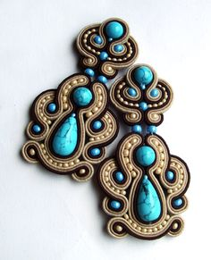 Soutache earrings with turquoise (imitation) Soutache Bracelet, Soutache Jewelry, Beaded Earrings, Beaded Jewelry, Handmade Jewelry, Soutache Pendant, Handmade Necklaces, Soutache Pattern, Soutache Tutorial