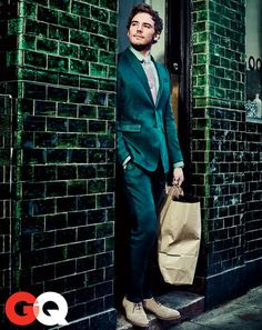 Sam Claflin. Suit by Burberry Prorsum. Shirt by Burberry London. Tie by Alexander Olch. Shoes by Johnston & Murphy.