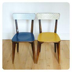 Paire de chaises vintage, revisitées tout en couleur