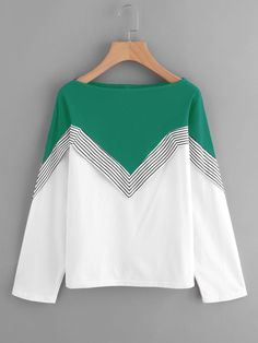Shop Two Tone Striped Trim Tee online. SheIn offers Two Tone Striped Trim Tee & more to fit your fashionable needs. Hijab Fashion, Fashion Dresses, Hijab Stile, Fancy Tops, Mode Chic, Stripes Fashion, Mode Hijab, Blouse Dress, Linen Blouse