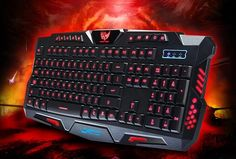 BlueFinger M200 New Design Wired Gaming Keyboard Three Color Purple Blue Red Backlighting Backlit Gaming Keyboard Black + Bluefi