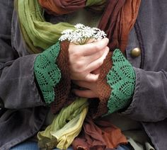 Crochet cuffs - this etsy seller also has the pattern for these for sale.  Lovely!