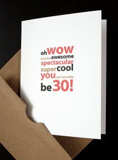 Happy 30th Birthday Card — For Him, Her, Friend, Husband, Wife, Son, Daughter, Boyfriend, Girlfriend, Anyone Turning 30! — by allotria on Etsy