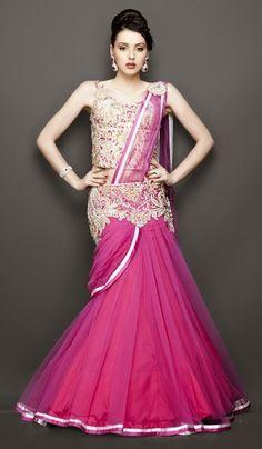 Indian Bridal Wear Trends 2014 | Indian Wedding Dresses | Stylespoint.com Pink Wedding Dresses, Indian Wedding Outfits, Designer Wedding Dresses, Indian Outfits, Indian Clothes, Gown Wedding, Indian Bridal Lehenga, Indian Bridal Wear, Indian Gowns
