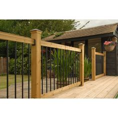 The wooden pergola is a good solution to add beauty to your garden. If you are not ready to spend thousands of dollars for building a cozy pergola then you may devise new strategies of trying out something different so that you can re Deck Railing Kits, Wood Railings For Stairs, Deck Stairs, Railing Ideas, Stair Railing, Porch Railings, Pergola Shade, Pergola Patio, Pergola Plans